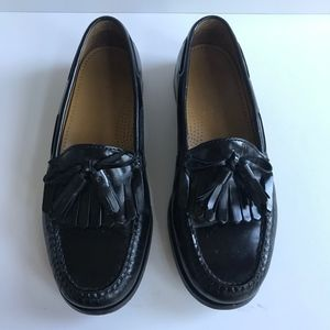 Cole Haan Black Leather Tassel Loafers Pinch 8 8D